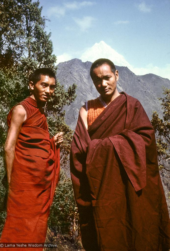 Lama Yeshe and Lama Zopa Rinpoche at Lawudo 1975